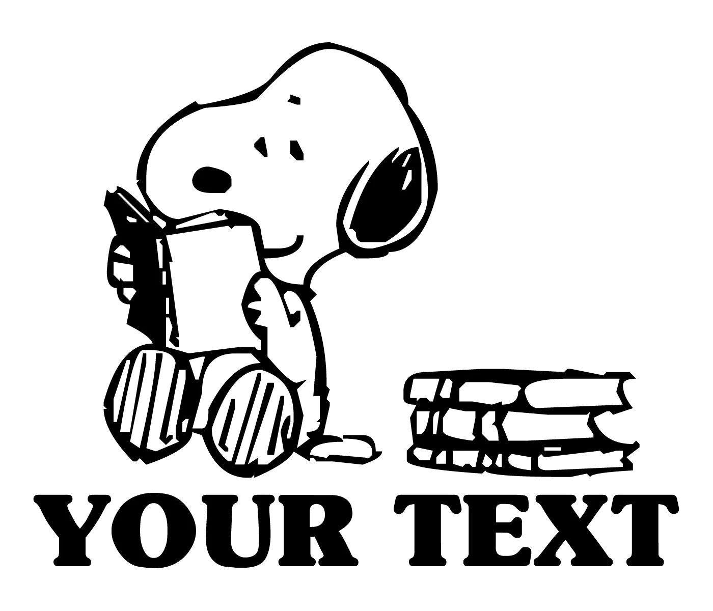 Personalized Snoopy Reading Vinyl Decal School Or Home Decor