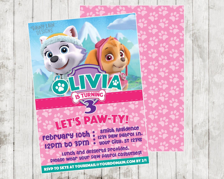 Printable Invitations Paw Patrol
