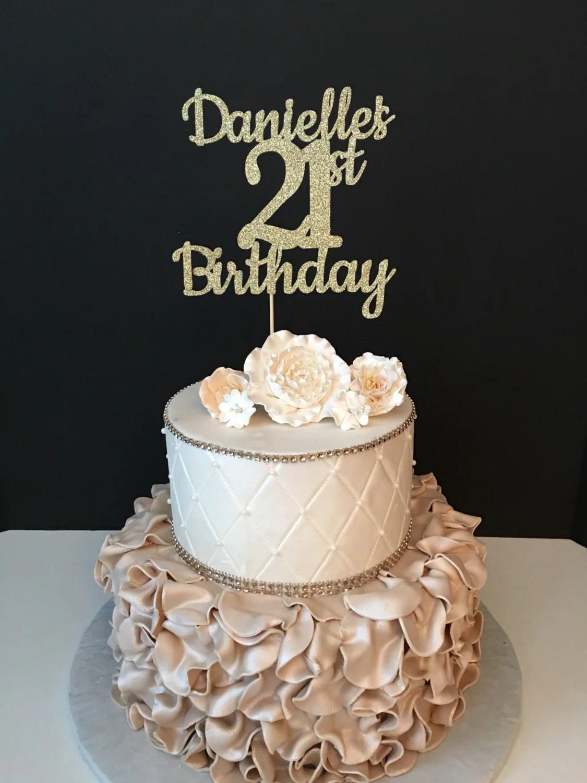 Any Name Amp Number Gold Glitter 21st Birthday Cake Topper 21