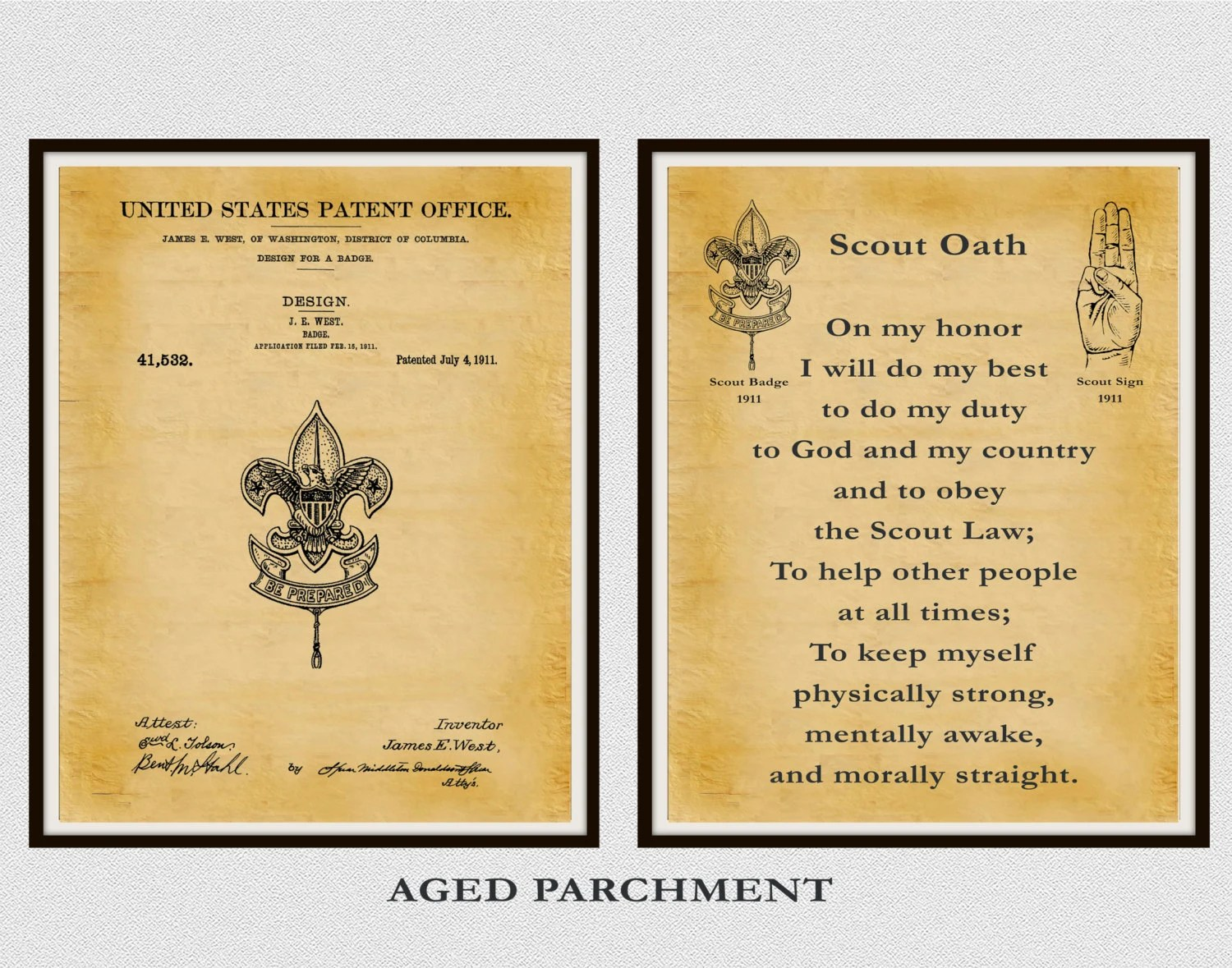 Patent Boy Scout Badge And Boy Scout Oath Set Of 2