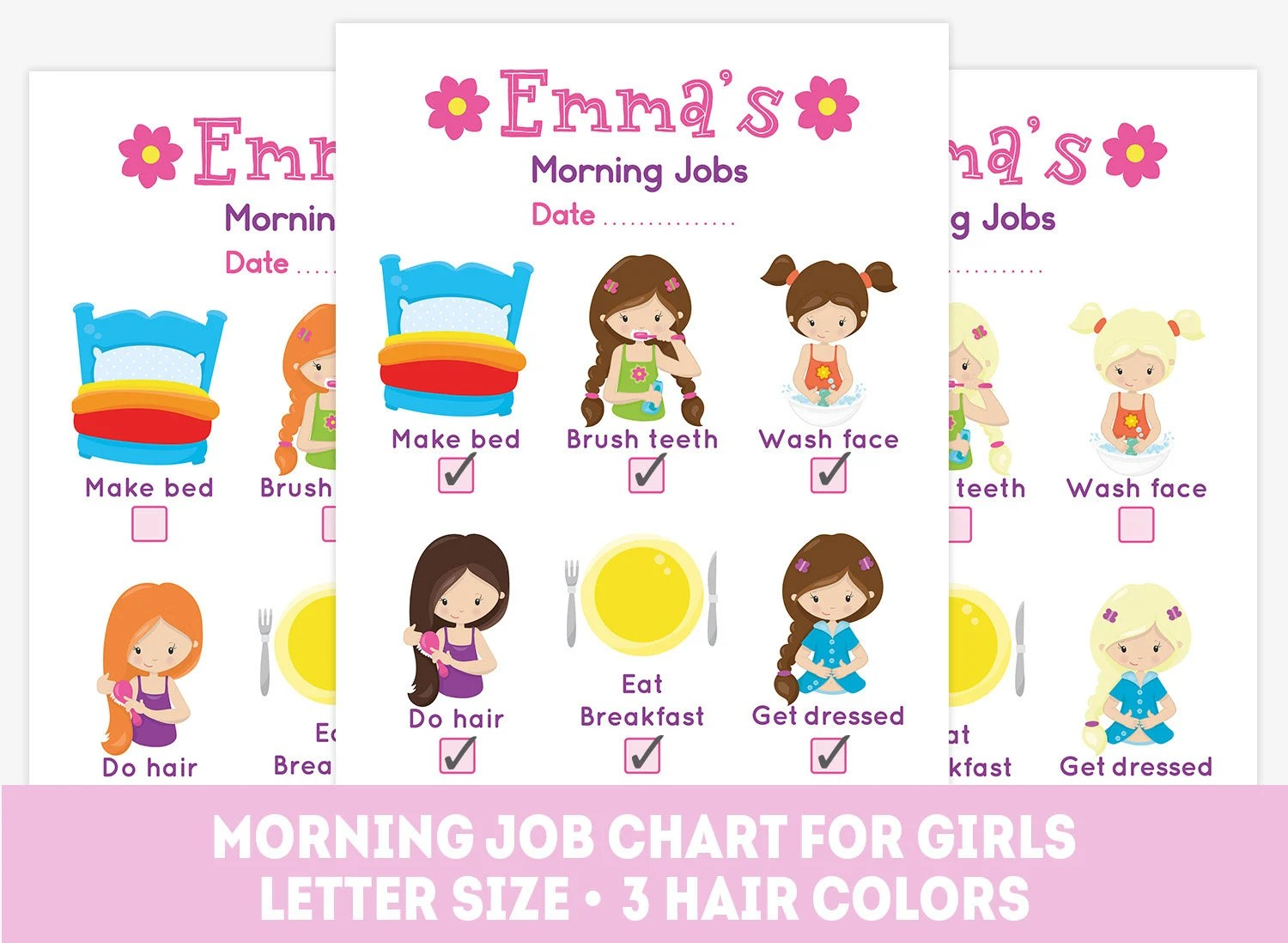 Printable Morning Job Chart Kids Chores List Daily Routine