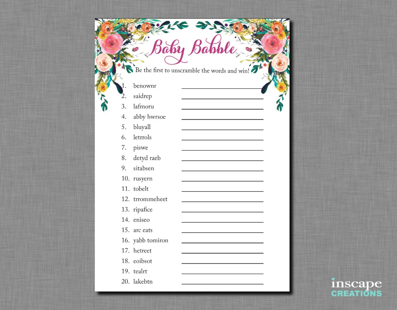 Baby Shower Word Scramble Game Printable Floral Baby Shower