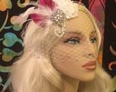 Ivory Fuchsia Bridal Hair Clip, Birdcage Veil, Bandeau Birdcage Veil, Blusher, Ivory Feather Hair Clip, Swarovski Crystals and Pearls