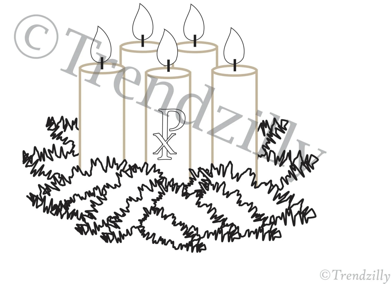 Cut Advent Wreath Coloring Page