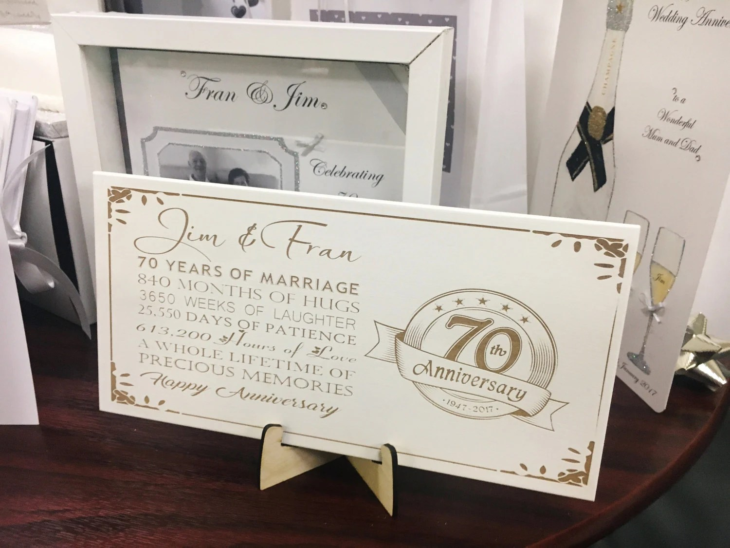 70th Anniversary Wedding Plaque With Quote Engraved And Stand