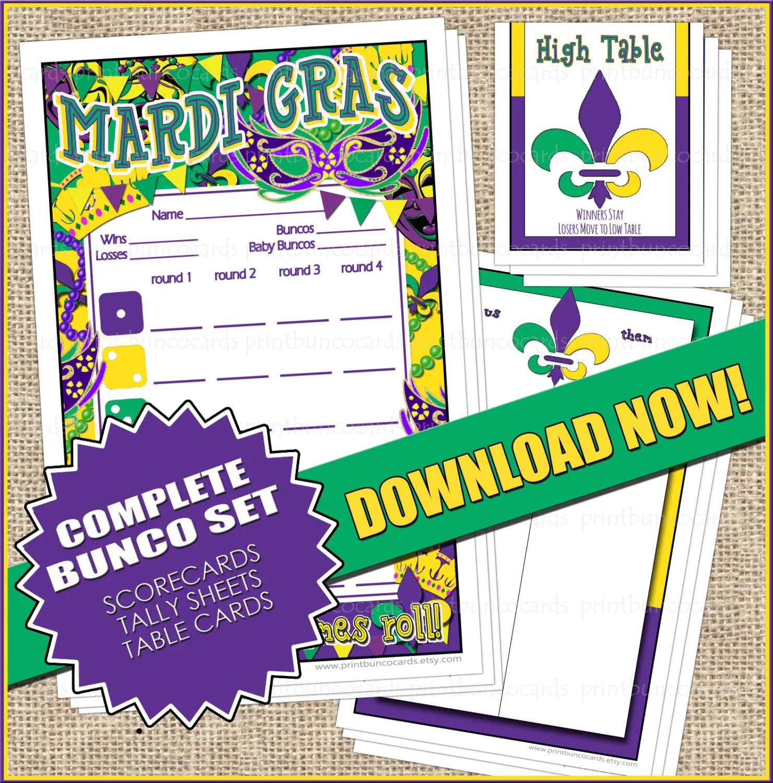 Printable Mardi Gras Bunco Set