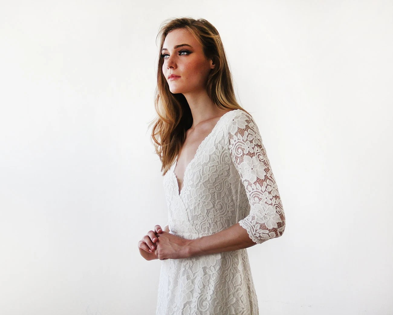 Ivory Long Sleeves Lace Wedding Gown Lace Bridal Gown Ivory