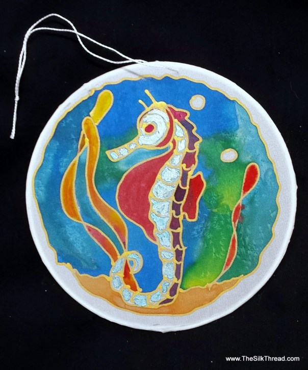 "Seahorse Silk Suncatcher, whimsical hand painted silk art, 6"" diameter sun catcher, stained glass look, window art, wall decor by artist"