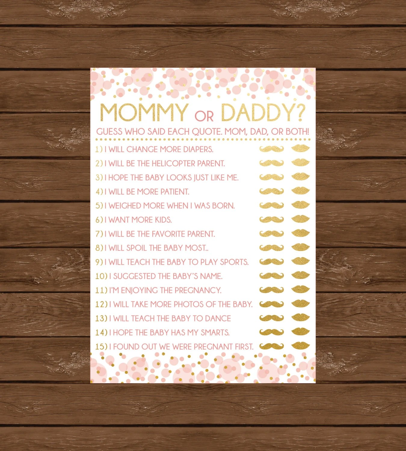 Mommy Or Daddy Printable Baby Shower Game By Designsbyjessiev