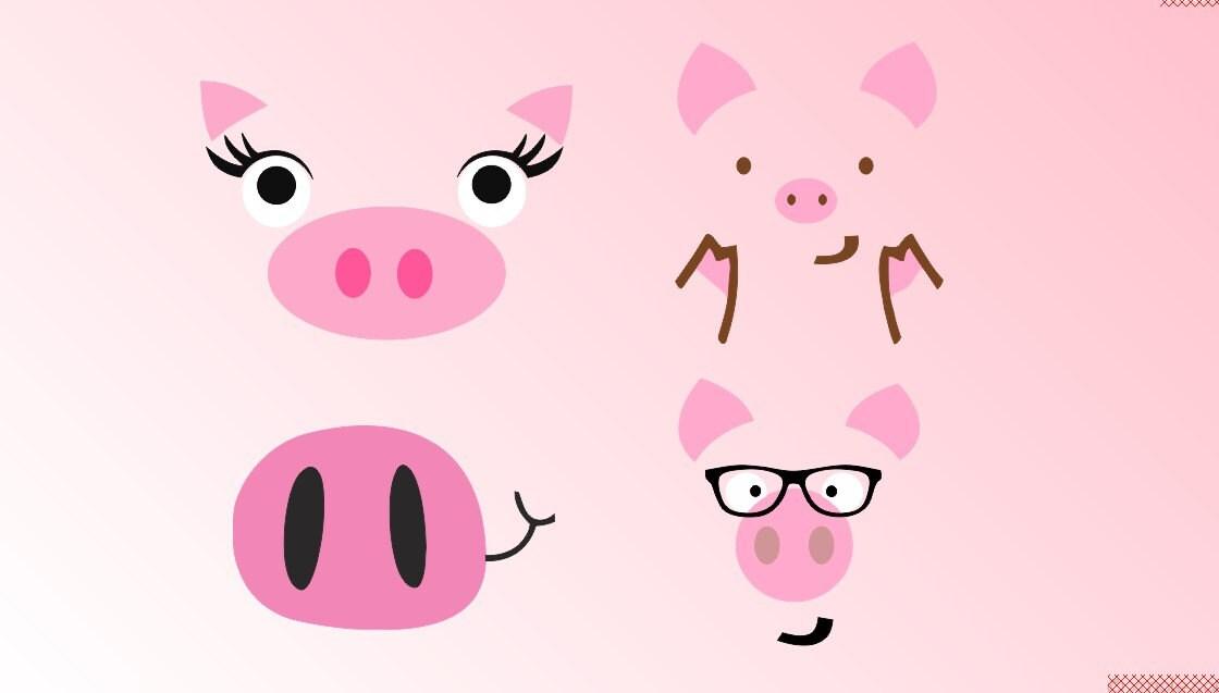 Download Pig Farm Face glasses head SVG Clipart Cut Files ...