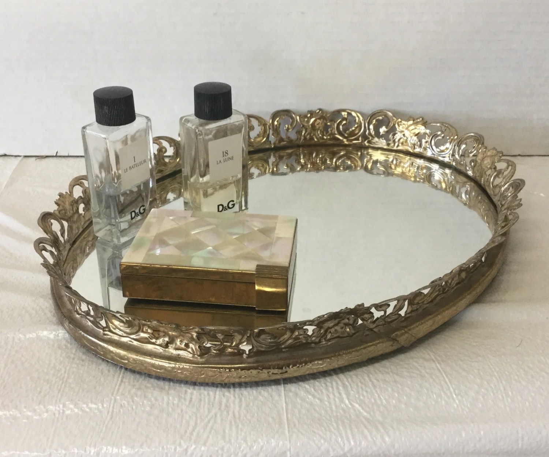 Vintage Gold Tone Metal Filigree Oval Vanity Mirror Dresser