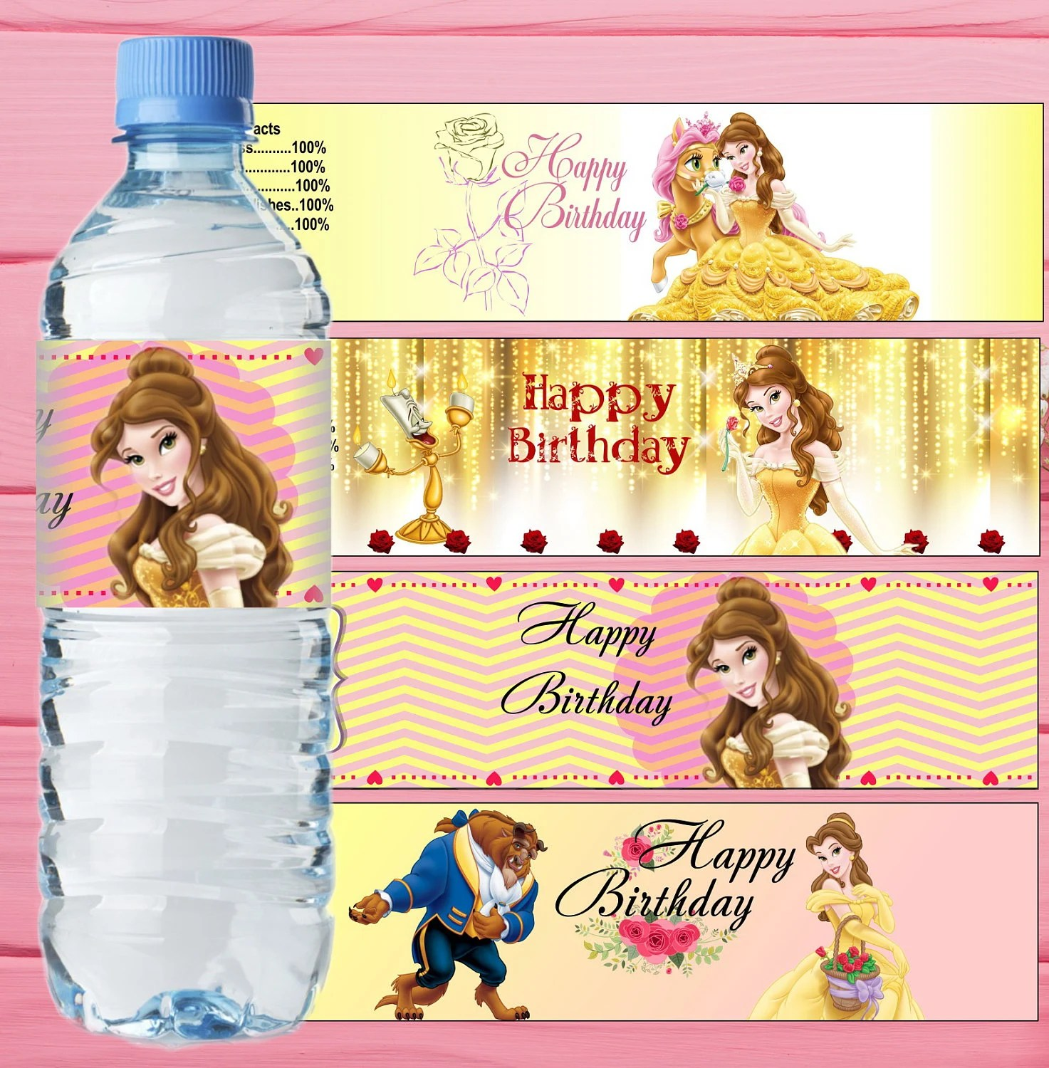 Belle Inspired Water Bottle Label Beauty And The Beast Bottle