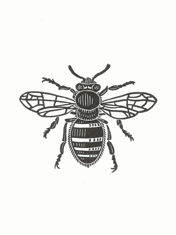 Bee Linocut Print Handmade Original