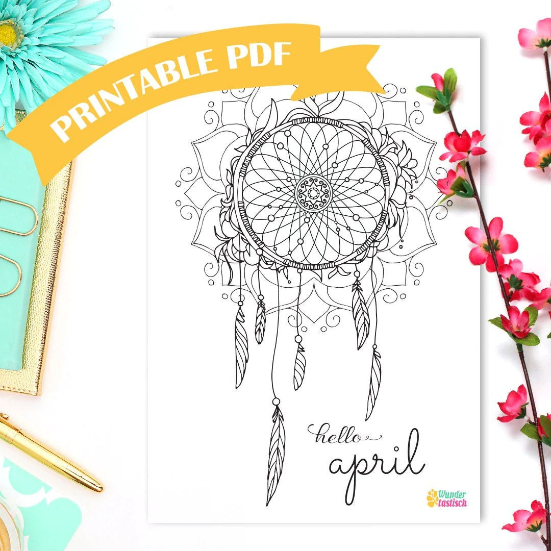 Printable Dreamcatcher Coloring Page Monthly Bullet