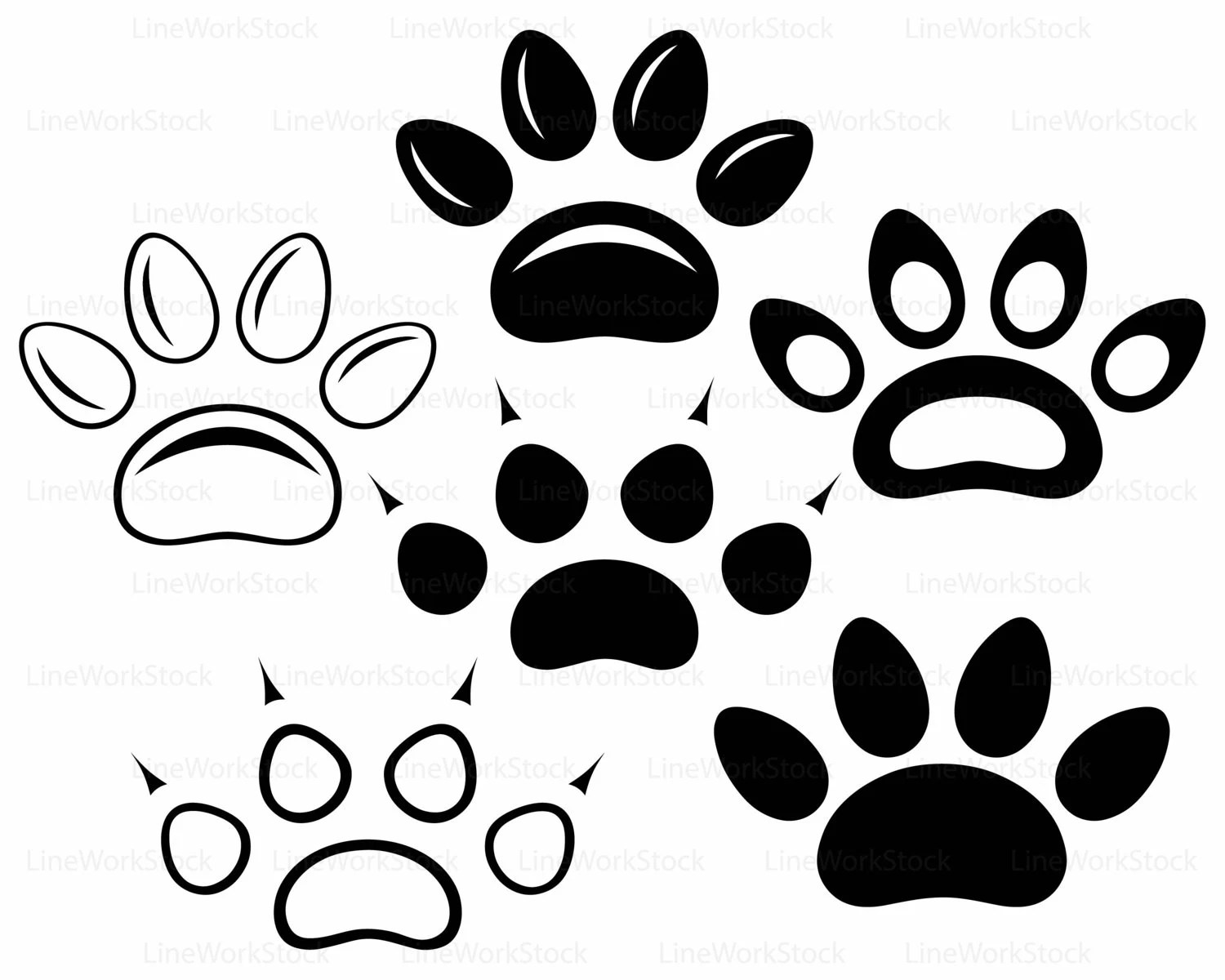 Paw Prints Svg Paw Clipart Bear Paw Svg Animal Lover