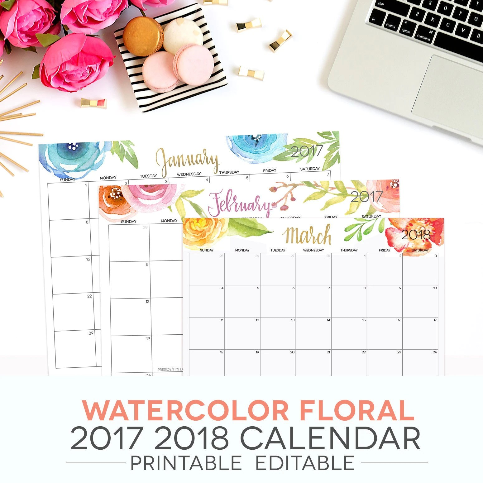 Calendar Printable Editable Digital Monthly Pages