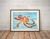 Octopus Painting Art Prin...