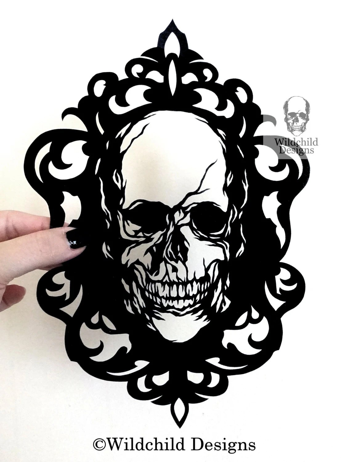 Cameo Skull Gothic Halloween Silhouette Paper Cutting Template