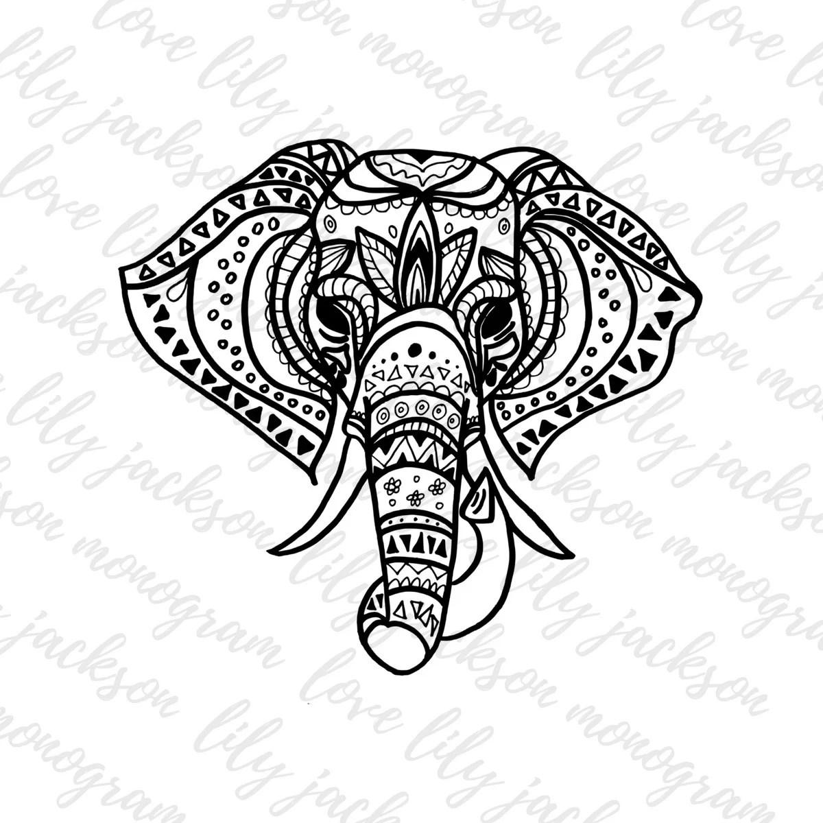 Tribal Elephant Cut File SVG PNG JPeg Coloring Book