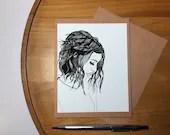 Girl - Original Ink Drawi...