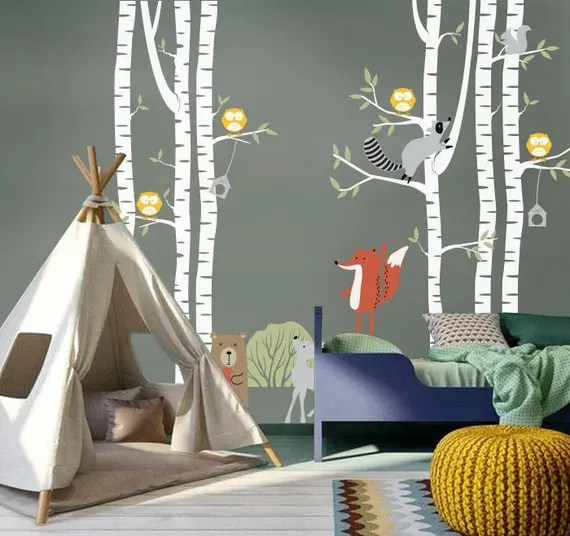 Forest Animals & Birch Tree Decals by pinknbluebaby