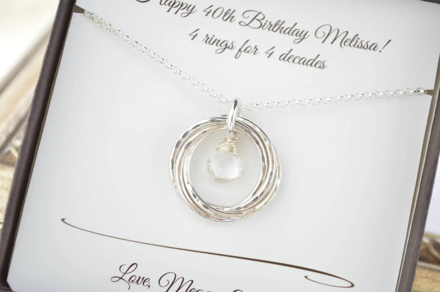 April Birthstone Necklace, 40th Birthday Gift For Her, 4th