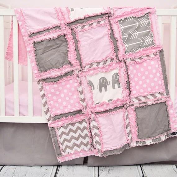 Girl Elephant Crib Bedding Set by Avisiontoremember