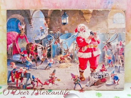 Vintage Christmas Puzzle Made in Sweden Featuring a George Hinke Print w/Santa, Reindeer and Elves