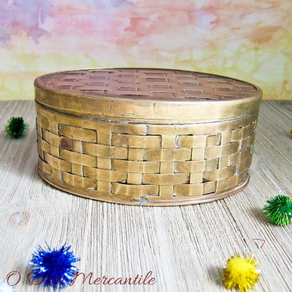 Woven Oval Vintage Copper and Brass Trinket/Jewelry Box
