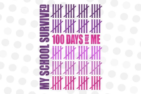Download 100 Days of School Svg My School Survived 100 Days of Me Svg