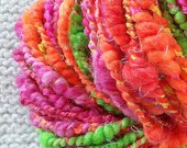 Fruit Stripe Gum RockStar Handspun Yarn - 40 yards - thick and thin coils with sparkle, nice and bulky