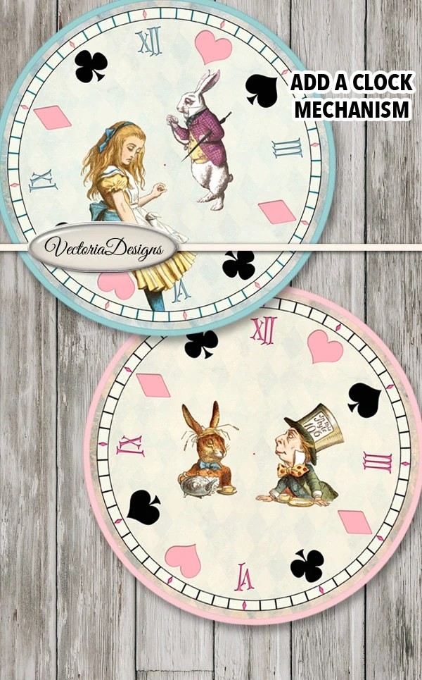Alice Wonderland Clock Printables