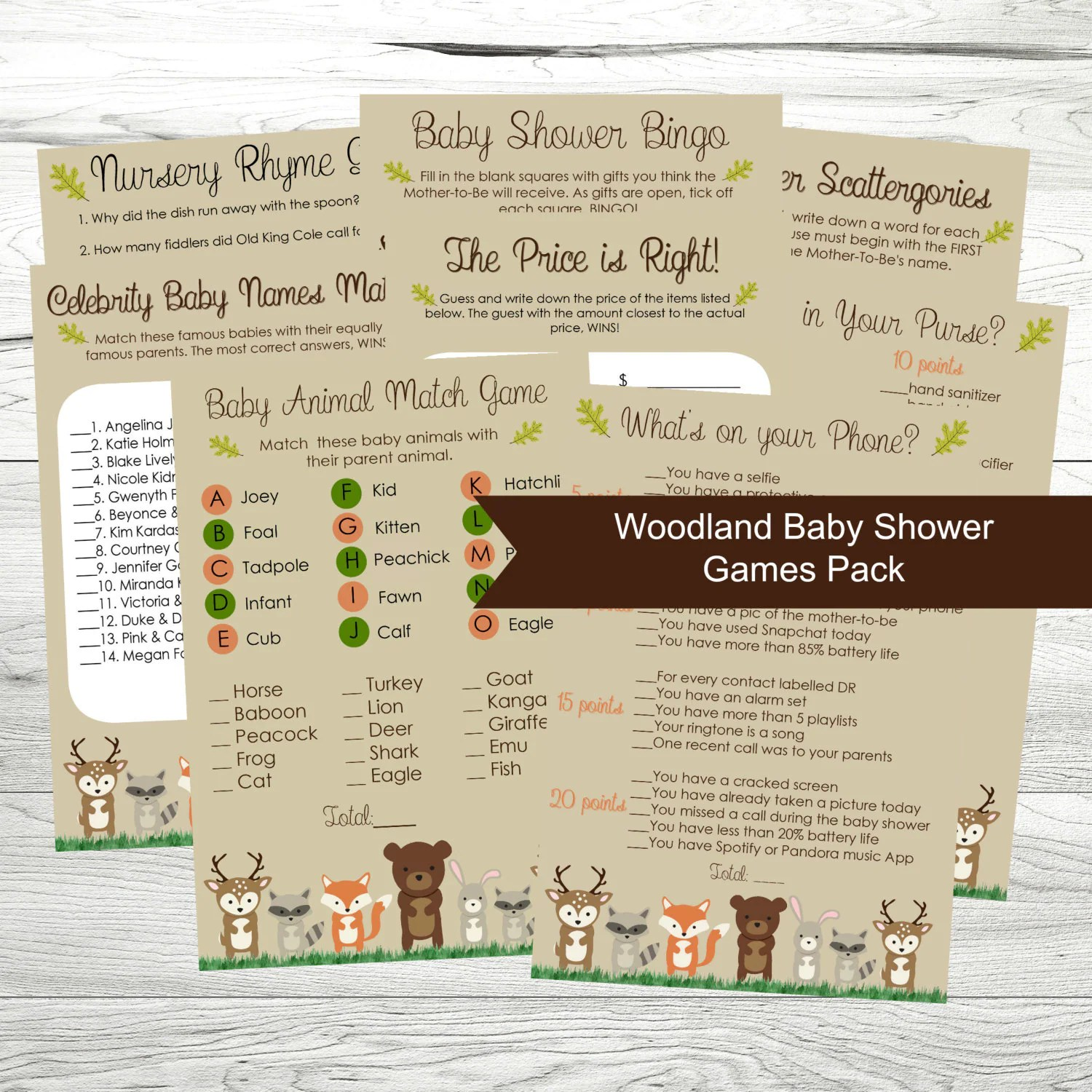 Baby Shower Games Printable Woodland Theme Baby Shower Games