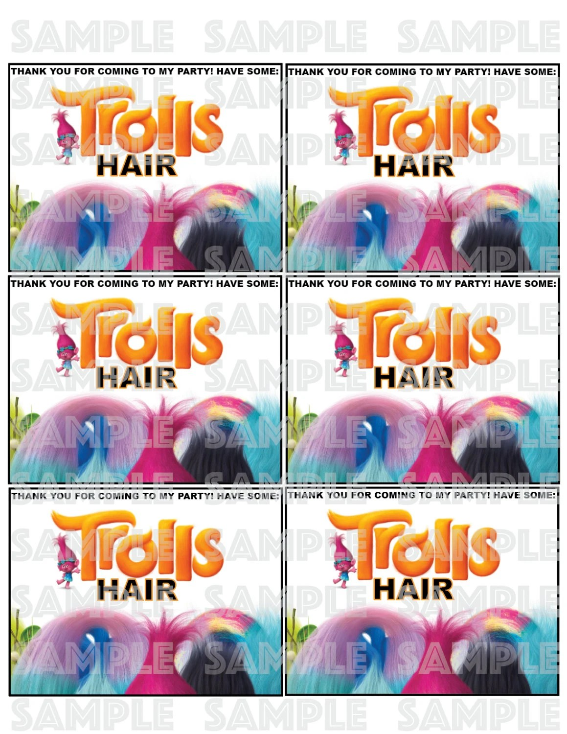 Trolls Cotton Candy Label Trolls Hair Trolls Favor Labels