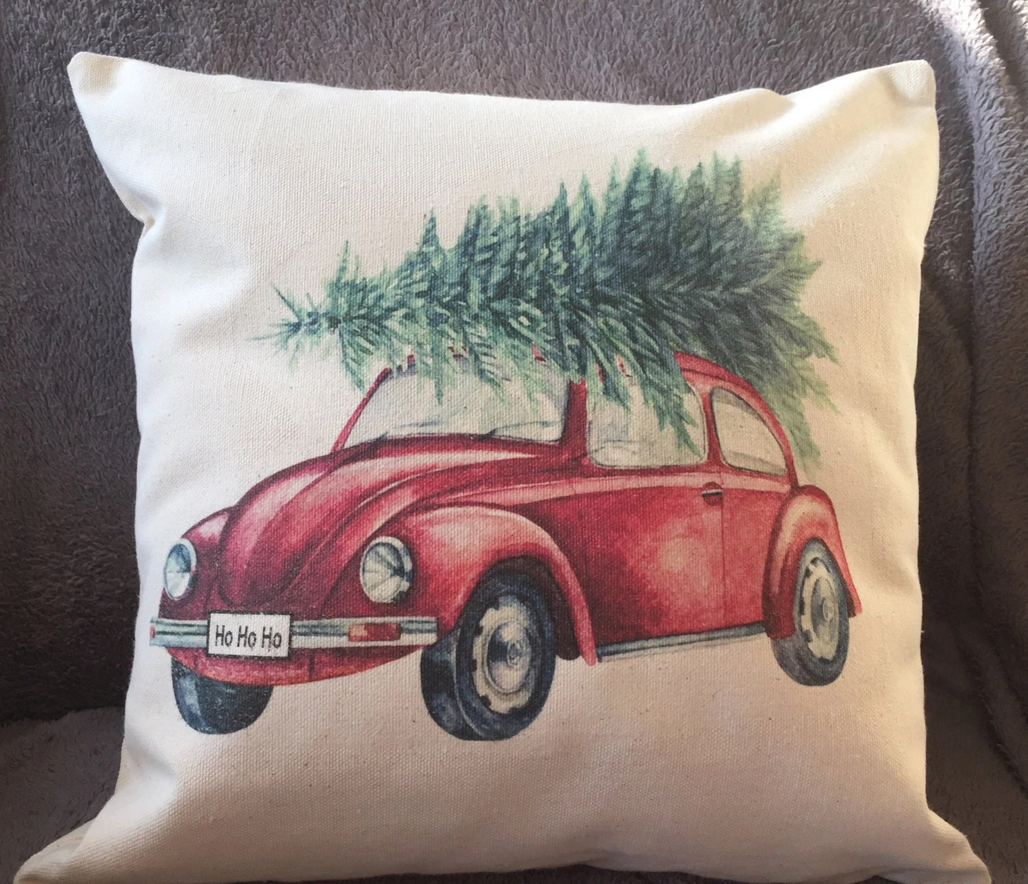 VW Beetle With Christmas Tree Decorative Pillow Cover Car
