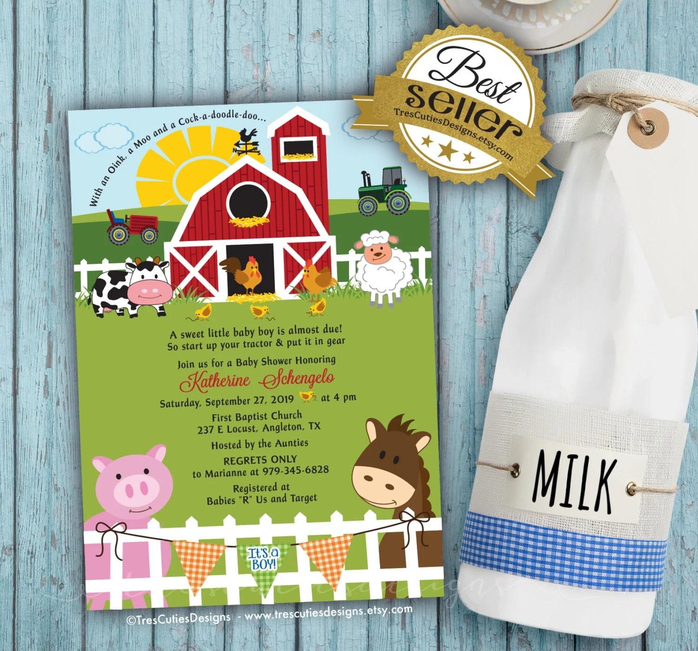 Baby Shower Farm Animals Invitation Its A Boy Girl Twins