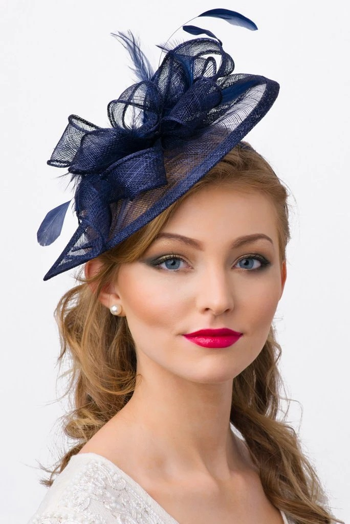 Navy Blue Fascinator Penny Mesh Hat Fascinator
