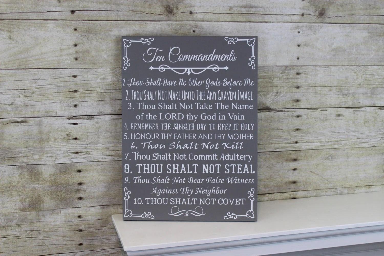 Ten Commandments Bible Wood Sign 10 Commandments Wall Art