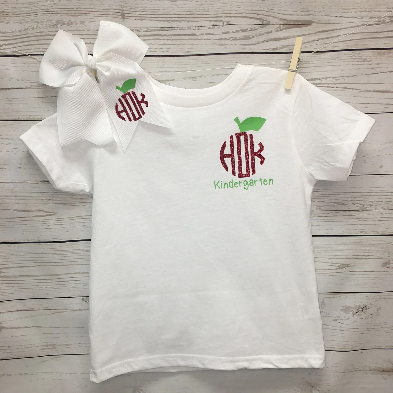 Monogrammed Kindergarten Shirt Girls Kindergarten Shirt