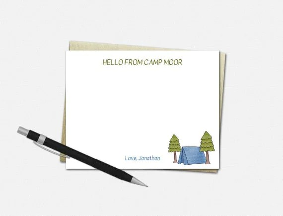 Personalized Camp Note Cards for Boys {FLAT}