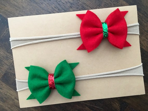 Christmas headband | Christmas Bow | Chistmas | Red and Green | felt bow | bow | headband | newborn | baby | toddler | girl | photo prop