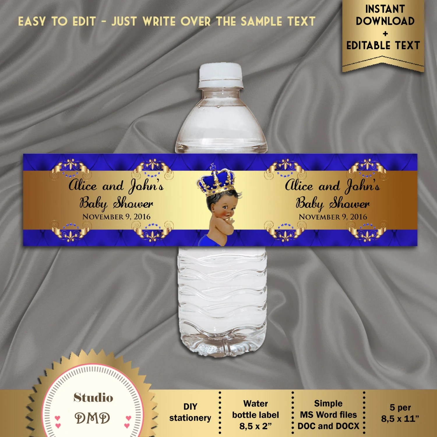 Royal Prince Baby Shower Labels