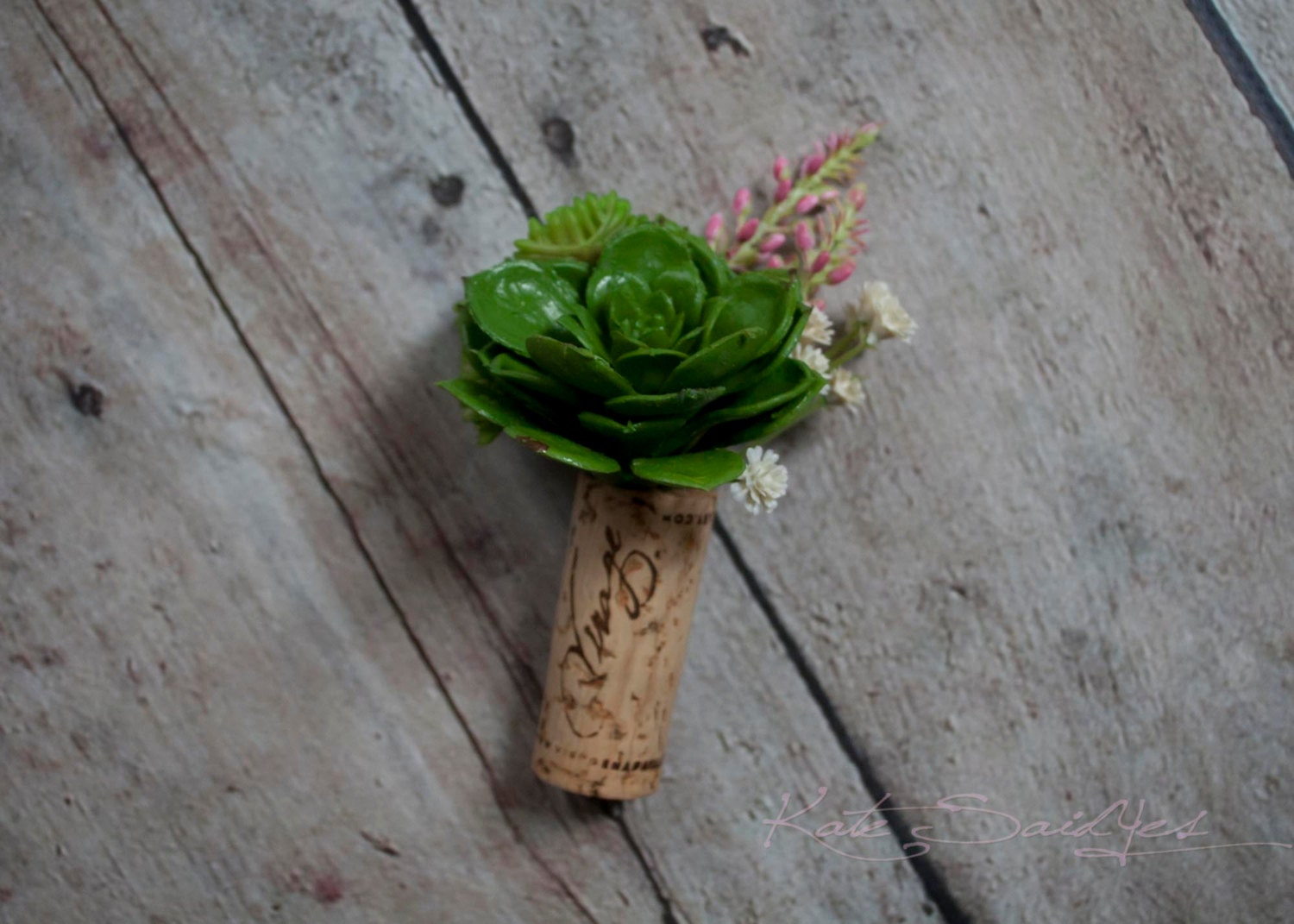 Wine Cork Boutonniere Green And Pink Succulent Wedding