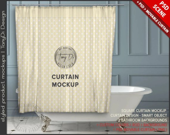 Bathroom Curtain Psd Styled Mockup Bc1 White Bathtub Interior Custom Colors Square Movable M1
