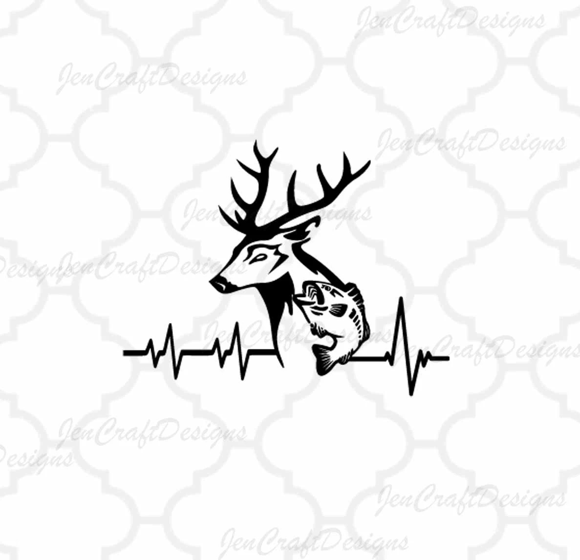 Deer Fish Svg Cutting File Hunting Svg Heartbeat Buck Svg