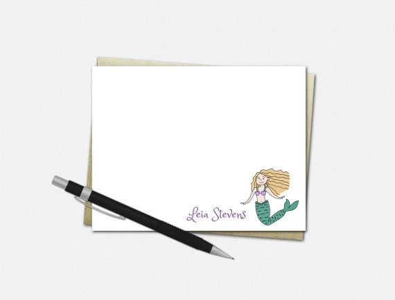 Personalized Mermaid Note Cards - Flat
