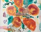 Orange floral abstract wa...