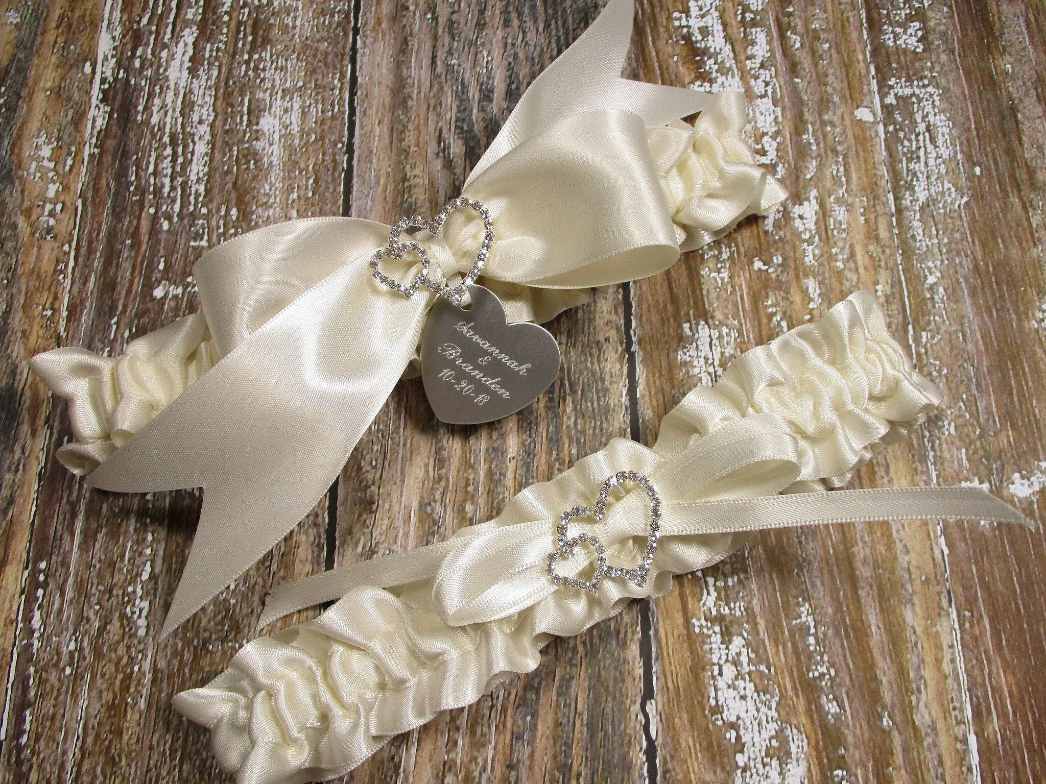 Personalized Ivory Wedding Garter Set In Satin With Engraving