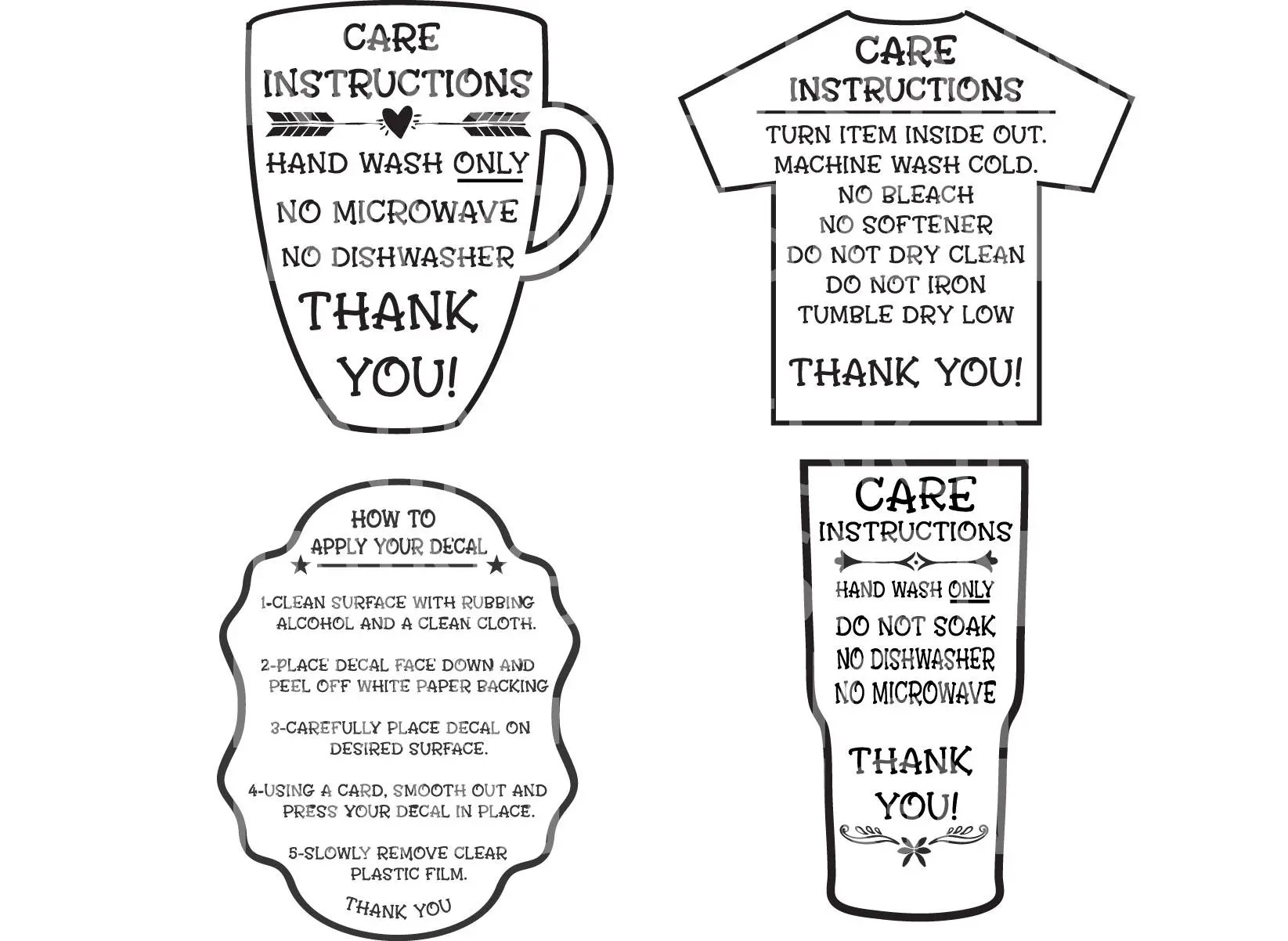 Care Instructions Digital File