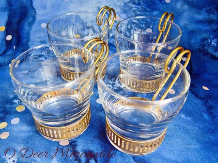 Set of Four Vintage Bushmill Whiskey Irish Coffee Cups by Libbey Glass in Metal Holder